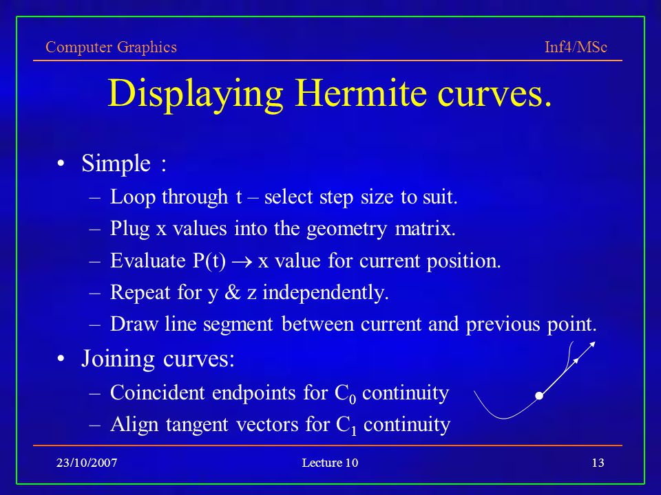 Computer Graphics Inf4/MSc 23/10/2007Lecture 1013 Displaying Hermite curves. Simple : –Loop through t – select step size to suit. –Plug x values into