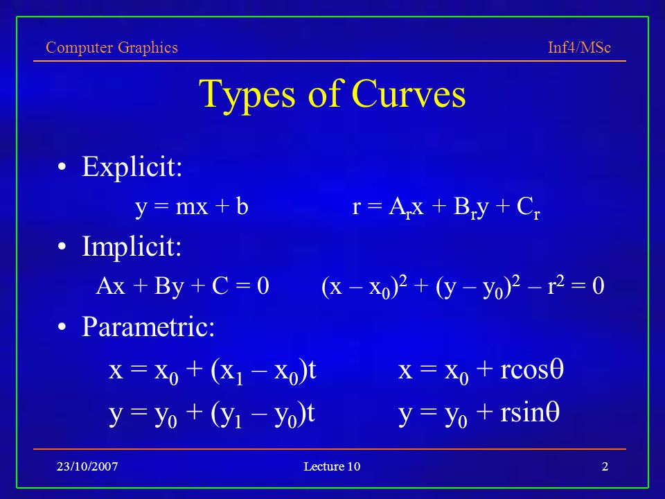 Computer Graphics Inf4/MSc 23/10/2007Lecture 102 Types of Curves Explicit: y = mx + b r = A r x + B r y + C r Implicit: Ax + By + C = 0 (x – x 0 ) 2 +