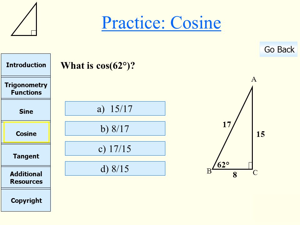 Cosine Sine Copyright Additional Resources Tangent Trigonometry Functions Introduction Go Back Continue