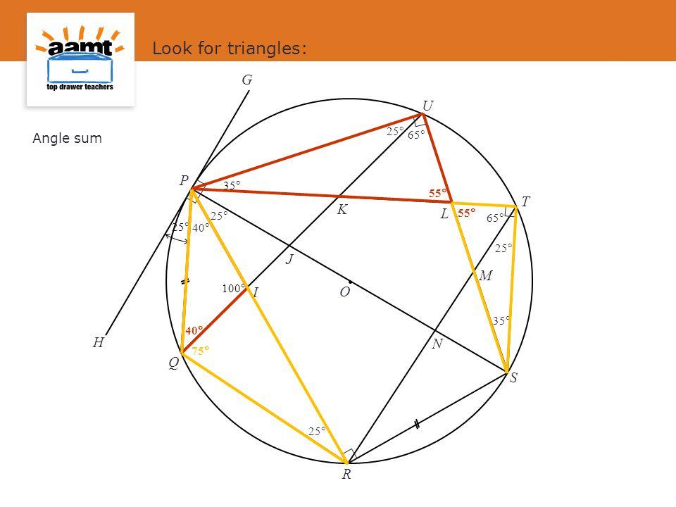 J I L M N K O S P Q R T U G H 25  100  35  Look for triangles: 25  65  40  35  Angle sum 55  40  55  75 