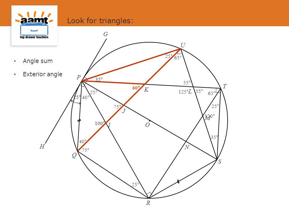 J I L M N K O S P Q R T U G H 25  100  35  Look for triangles: 25  65  40  35  Angle sum Exterior angle 55  40  55  75  125  60  75  120 