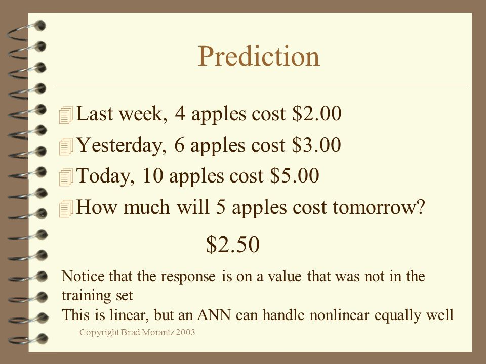 Copyright Brad Morantz 2003 Prediction 4 Last week, 4 apples cost $2.00 4 Yesterday, 6 apples cost $3.00 4 Today, 10 apples cost $5.00 4 How much will 5 apples cost tomorrow.