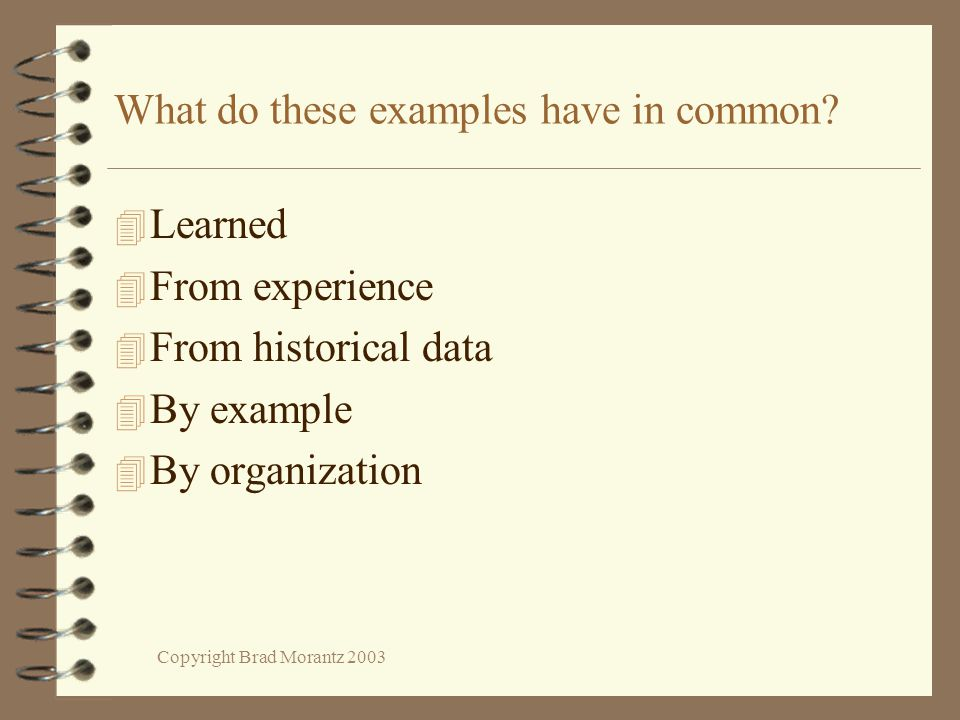 Copyright Brad Morantz 2003 What do these examples have in common.