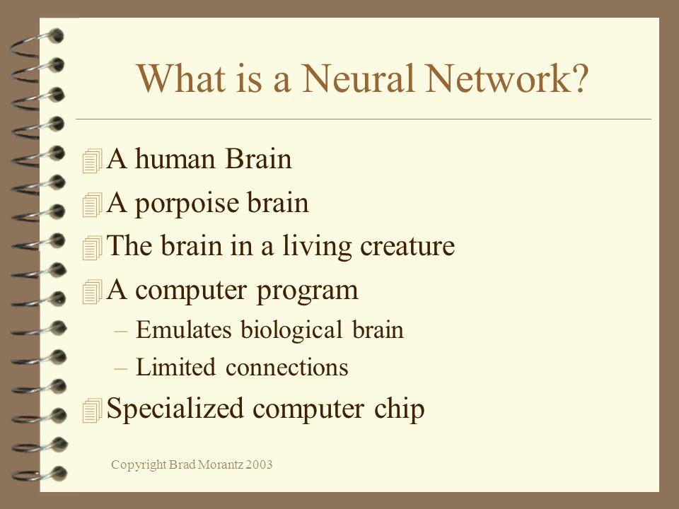 Copyright Brad Morantz 2003 What is a Neural Network? 4 A human Brain 4 A porpoise brain 4 The brain in a living creature 4 A computer program –Emulat