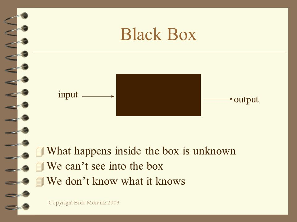 Copyright Brad Morantz 2003 Black Box 4 What happens inside the box is unknown 4 We can't see into the box 4 We don't know what it knows input output