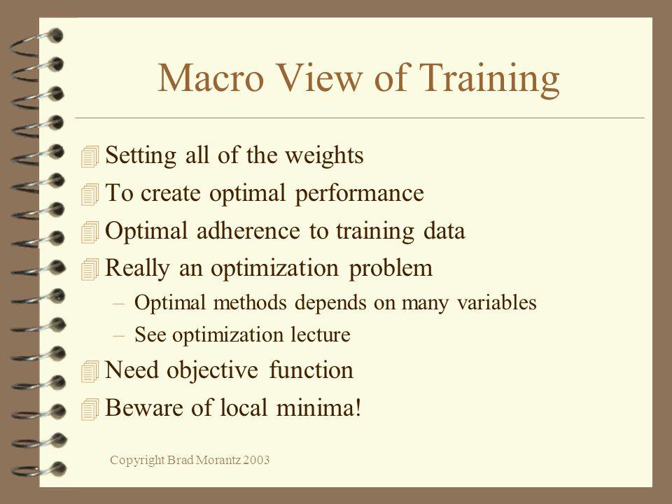 Copyright Brad Morantz 2003 Macro View of Training 4 Setting all of the weights 4 To create optimal performance 4 Optimal adherence to training data 4
