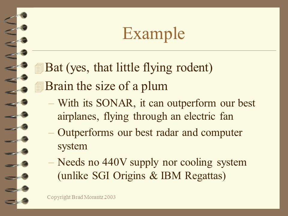 Copyright Brad Morantz 2003 Example 4 Bat (yes, that little flying rodent) 4 Brain the size of a plum –With its SONAR, it can outperform our best airplanes, flying through an electric fan –Outperforms our best radar and computer system –Needs no 440V supply nor cooling system (unlike SGI Origins & IBM Regattas)