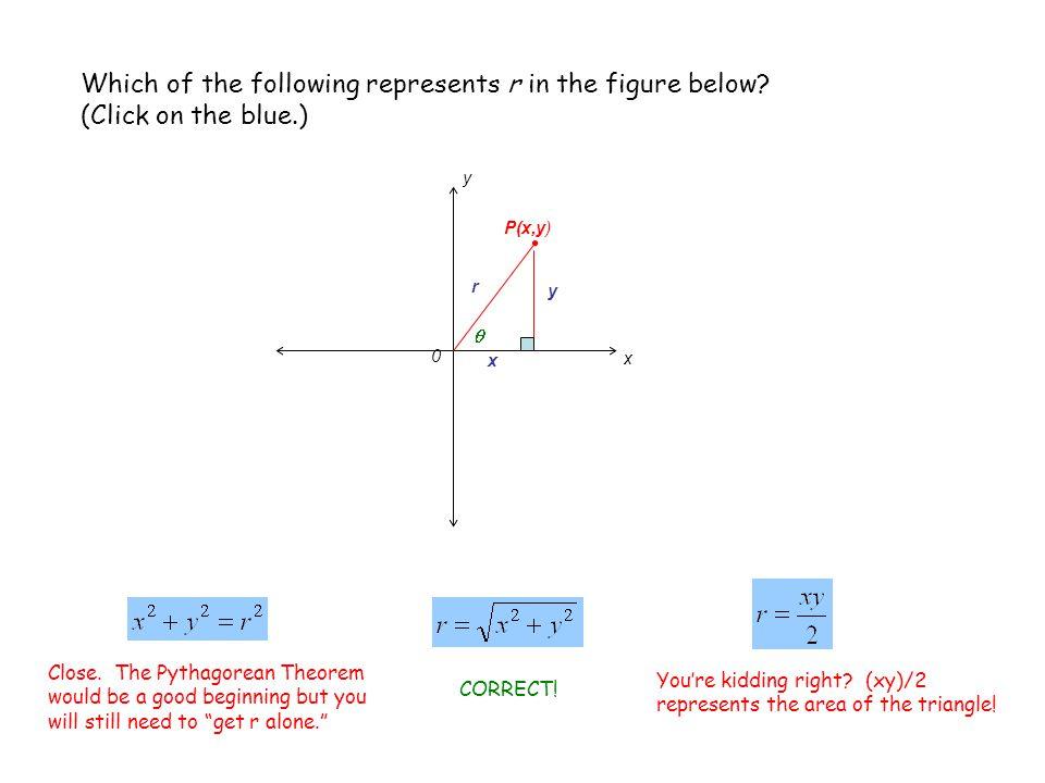 x 0 P(x,y) r y x y Which of the following represents sin  in the figure below.