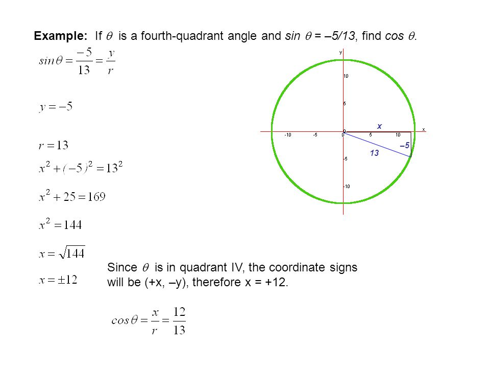 Example: If  is a second quadrant angle and cos  = –7/25, find sin . Check Answer