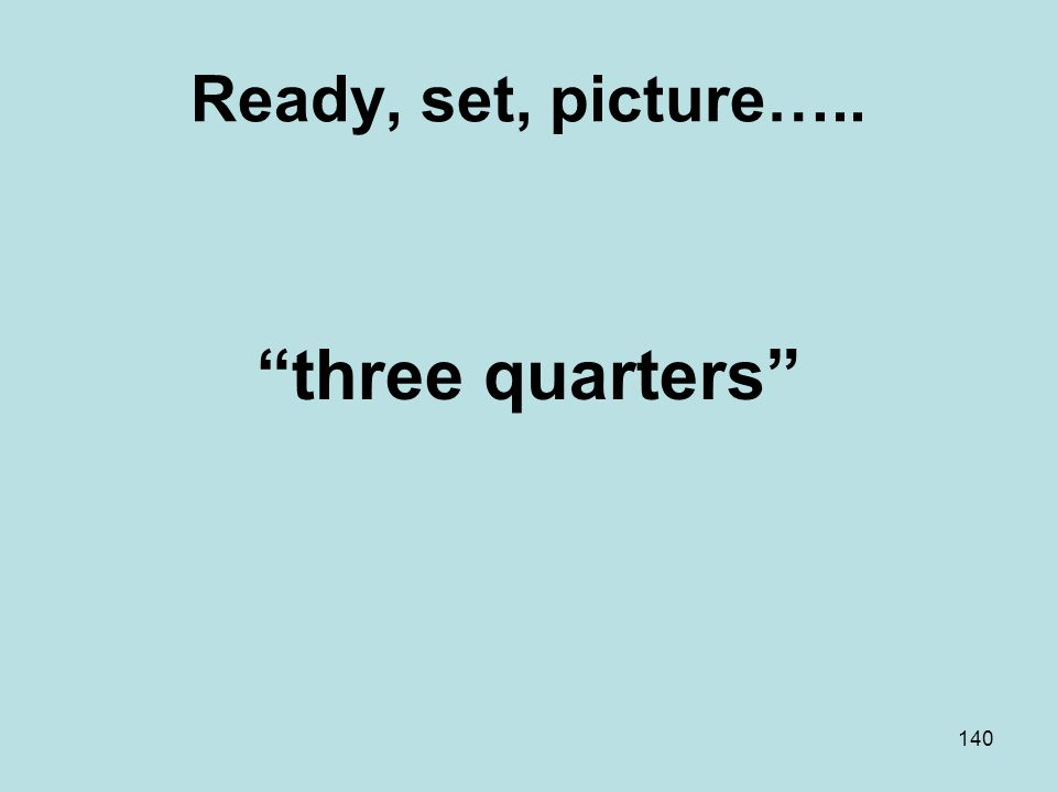 Ready, set, picture….. three quarters 140