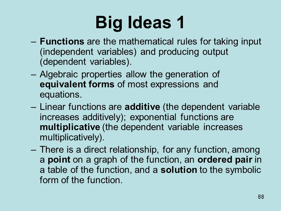 88 Big Ideas 1 –Functions are the mathematical rules for taking input (independent variables) and producing output (dependent variables).