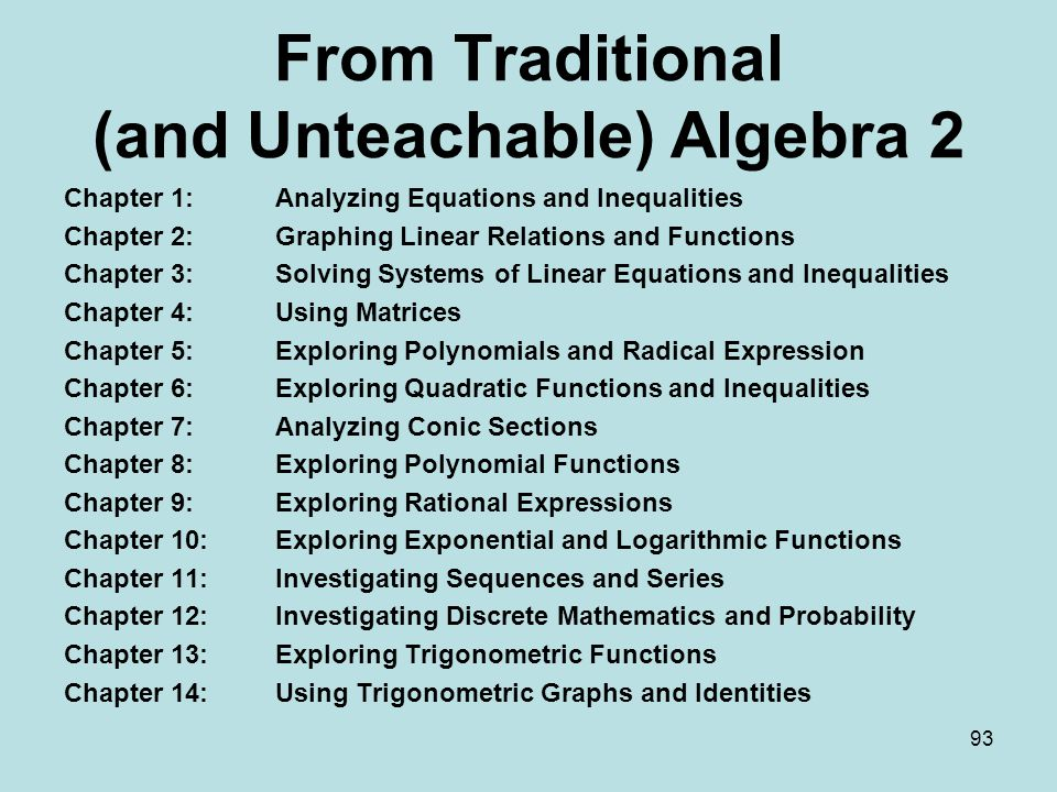 From Traditional (and Unteachable) Algebra 2 Chapter 1:Analyzing Equations and Inequalities Chapter 2: Graphing Linear Relations and Functions Chapter 3: Solving Systems of Linear Equations and Inequalities Chapter 4: Using Matrices Chapter 5:Exploring Polynomials and Radical Expression Chapter 6: Exploring Quadratic Functions and Inequalities Chapter 7: Analyzing Conic Sections Chapter 8: Exploring Polynomial Functions Chapter 9: Exploring Rational Expressions Chapter 10:Exploring Exponential and Logarithmic Functions Chapter 11: Investigating Sequences and Series Chapter 12: Investigating Discrete Mathematics and Probability Chapter 13: Exploring Trigonometric Functions Chapter 14: Using Trigonometric Graphs and Identities 93