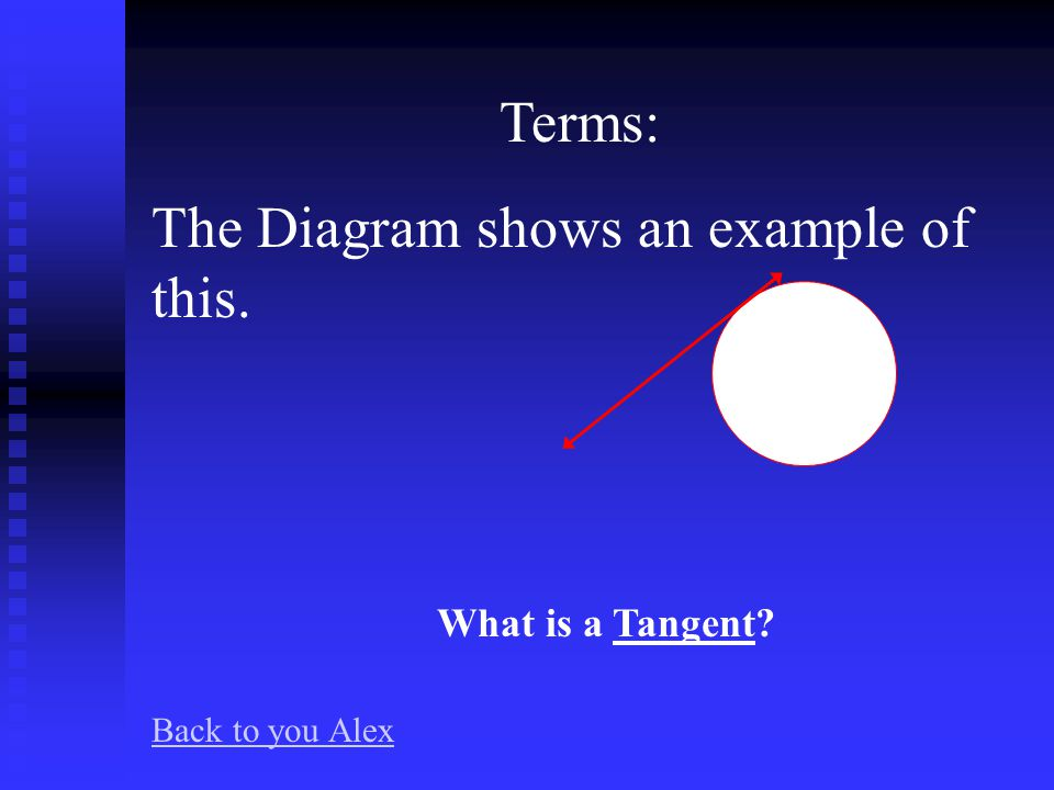 Terms: The diagram shows an example of this. What is a Secant Back to you Alex