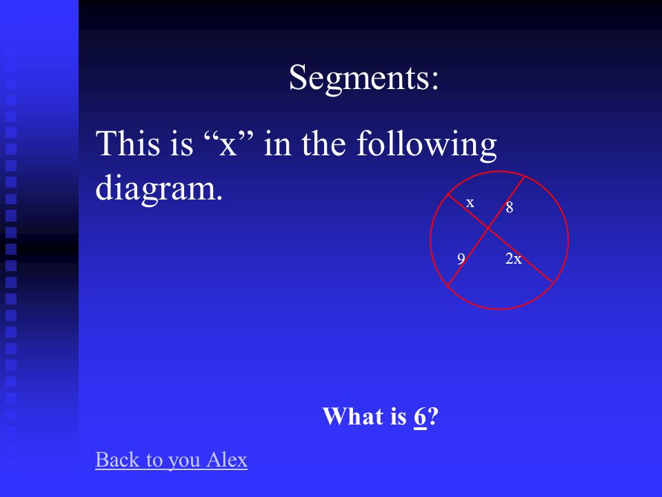 Segments: This is x in the following diagram. What is 13 Back to you Alex 12 23 x 15