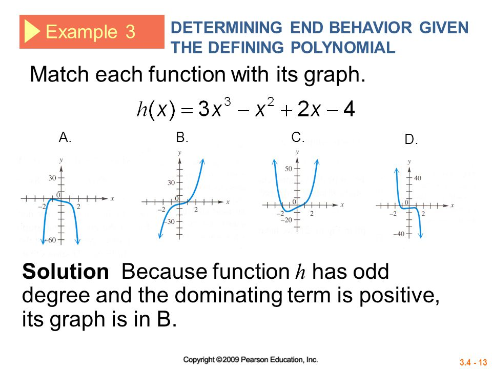 3.4 - 13 Example 3 DETERMINING END BEHAVIOR GIVEN THE DEFINING POLYNOMIAL Match each function with its graph. Solution Because function h has odd degr