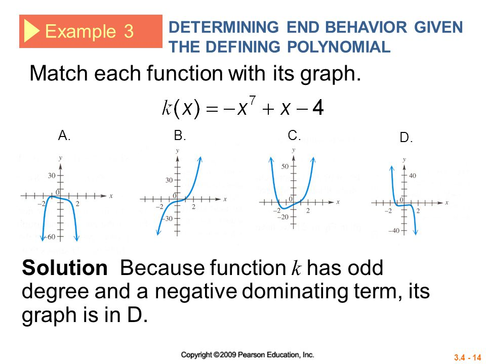3.4 - 14 Example 3 DETERMINING END BEHAVIOR GIVEN THE DEFINING POLYNOMIAL Match each function with its graph.