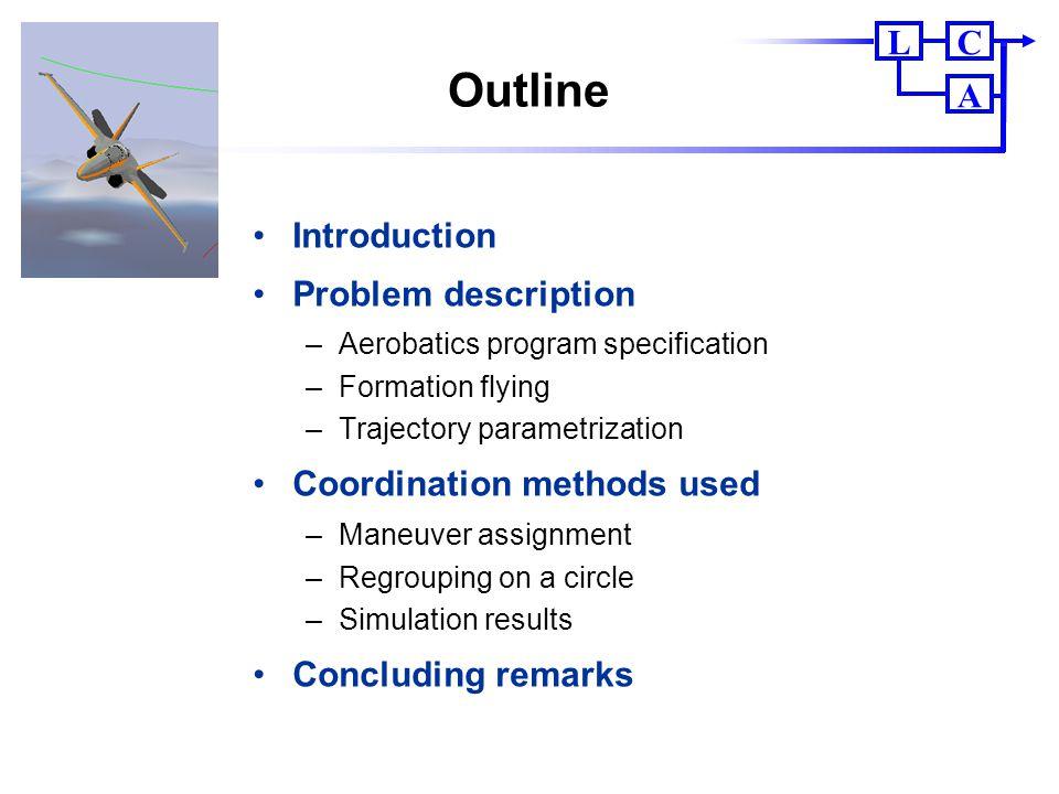 CL A Outline Introduction Problem description –Aerobatics program specification –Formation flying –Trajectory parametrization Coordination methods use