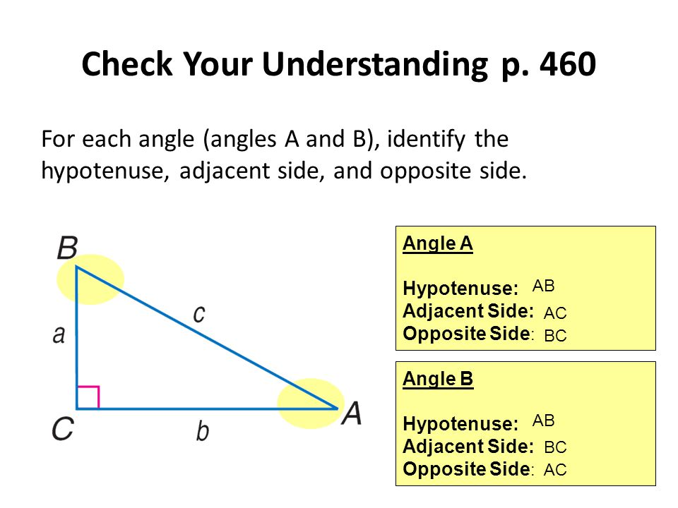 Check Your Understanding p. 460 For each angle (angles A and B), identify the hypotenuse, adjacent side, and opposite side. Angle A Hypotenuse: Adjace