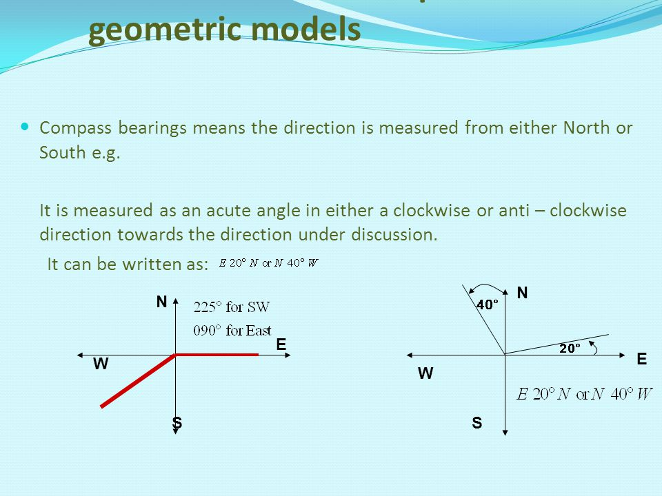 3. Construct and interpret geometric models Compass bearings means the direction is measured from either North or South e.g. It is measured as an acut