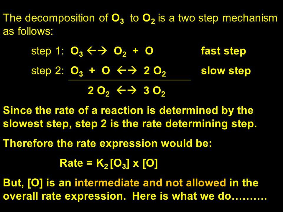 The decomposition of O 3 to O 2 is a two step mechanism as follows: step 1: O 3  O 2 + Ofast step step 2: O 3 + O  2 O 2 slow step 2 O 2  3 O 2