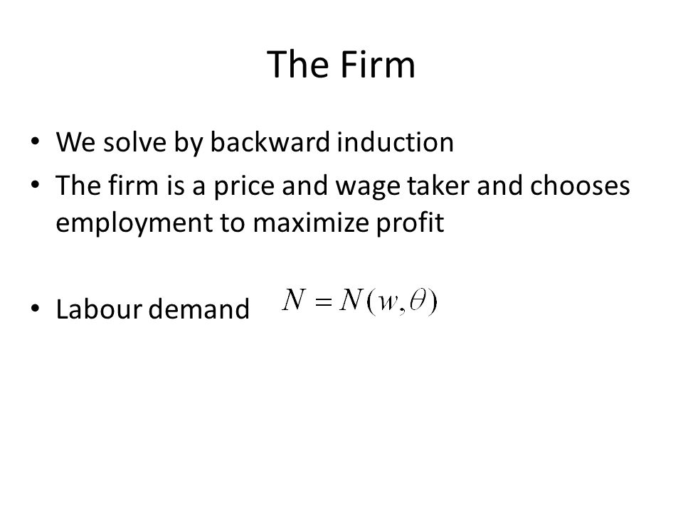 The Firm We solve by backward induction The firm is a price and wage taker and chooses employment to maximize profit Labour demand