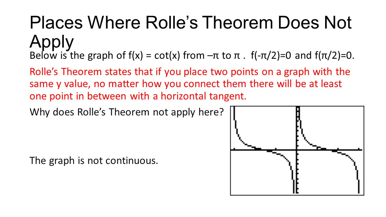 Places Where Rolle's Theorem Does Not Apply Below is the graph of f(x) = cot(x) from –π to π. f(-π/2)=0 and f(π/2)=0. Rolle's Theorem states that if y