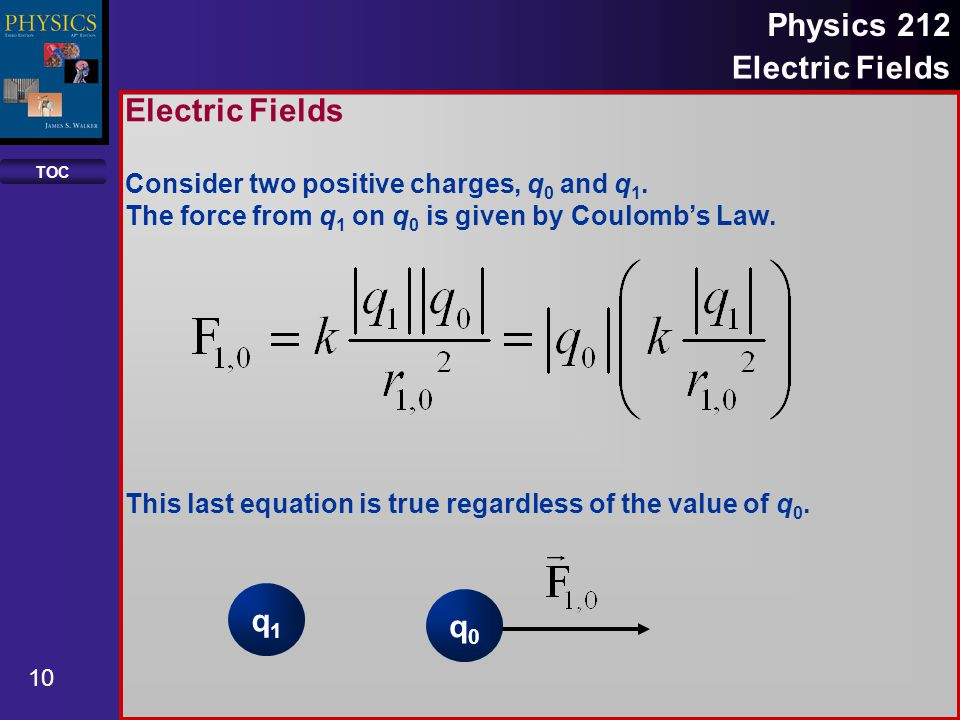 TOC 10 Physics 212 Electric Fields Consider two positive charges, q 0 and q 1. The force from q 1 on q 0 is given by Coulomb's Law. This last equation