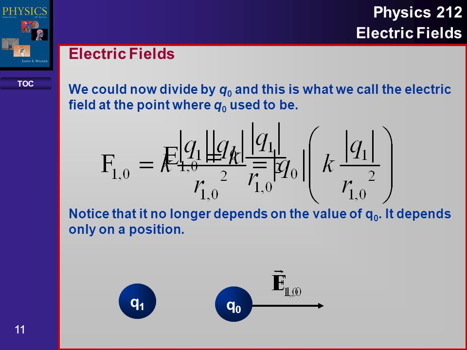TOC 11 Physics 212 Electric Fields We could now divide by q 0 and this is what we call the electric field at the point where q 0 used to be. Notice th