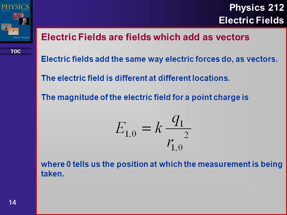 TOC 14 Physics 212 Electric Fields Electric Fields are fields which add as vectors Electric fields add the same way electric forces do, as vectors. Th