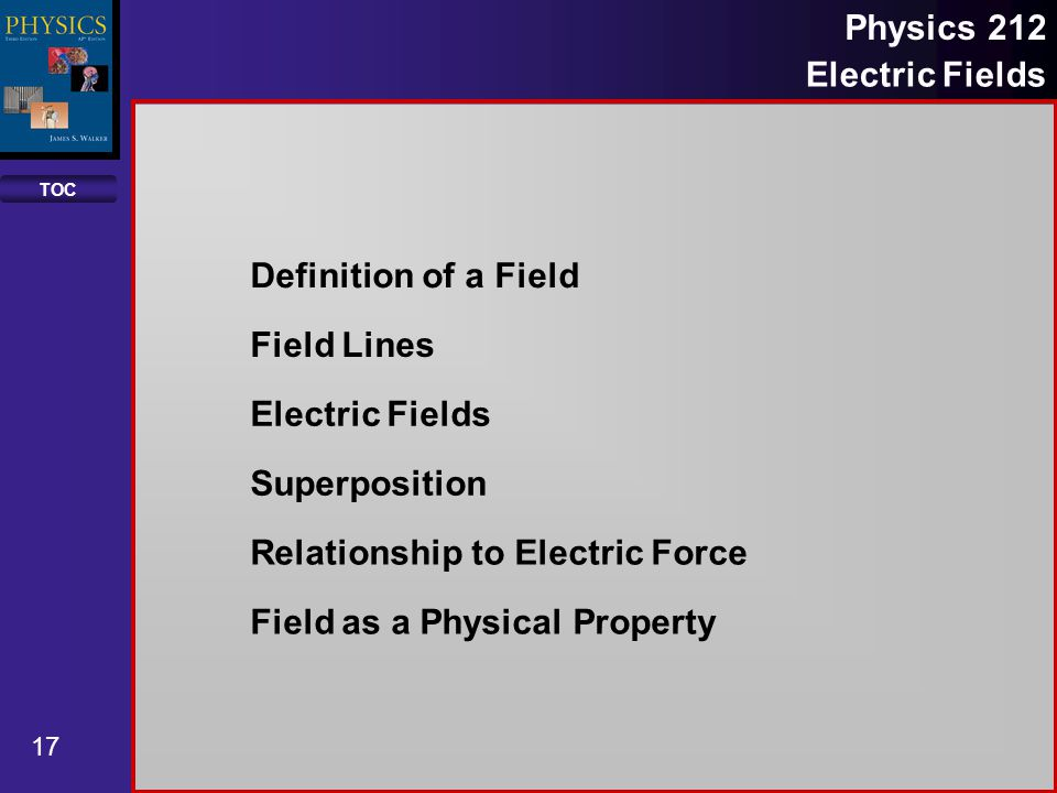 TOC 17 Physics 212 Electric Fields Definition of a Field Field Lines Electric Fields Superposition Relationship to Electric Force Field as a Physical