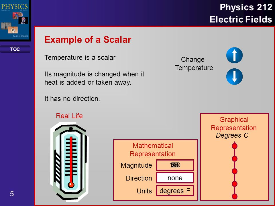 TOC 5 Physics 212 Electric Fields Change Temperature Temperature is a scalar Its magnitude is changed when it heat is added or taken away. It has no d