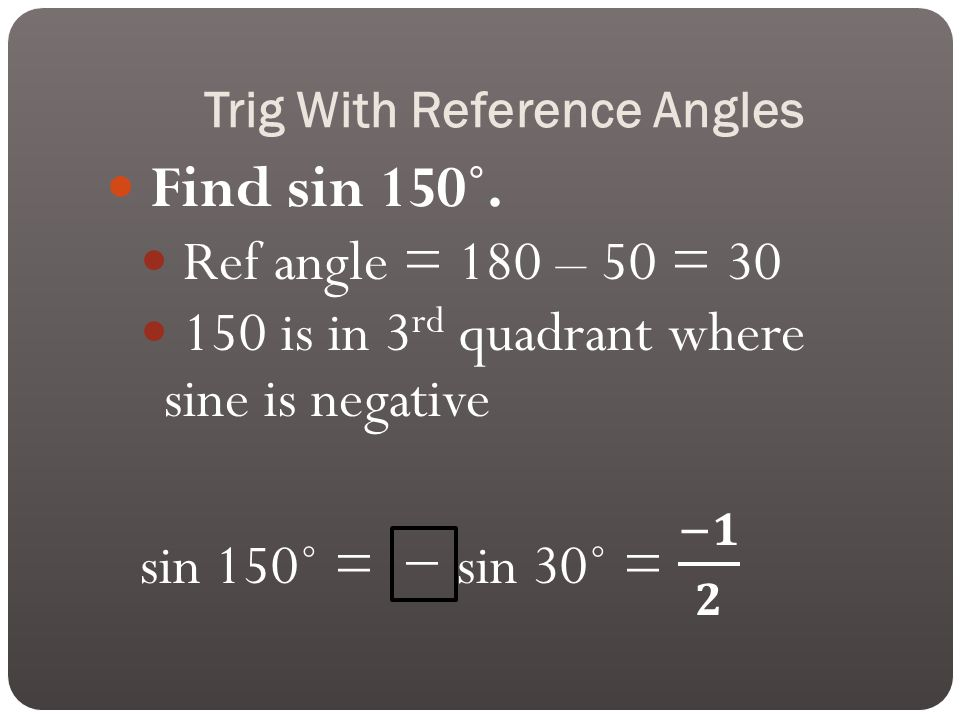 Trig With Reference Angles