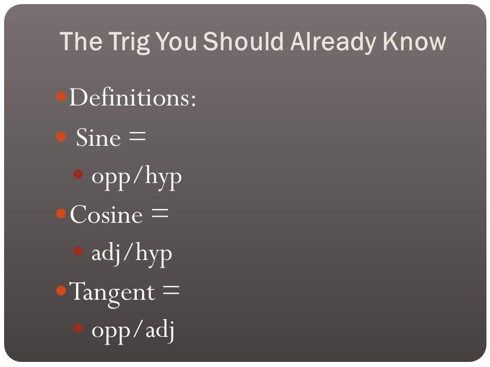 The Trig You Should Already Know Definitions: Sine = opp/hyp Cosine = adj/hyp Tangent = opp/adj