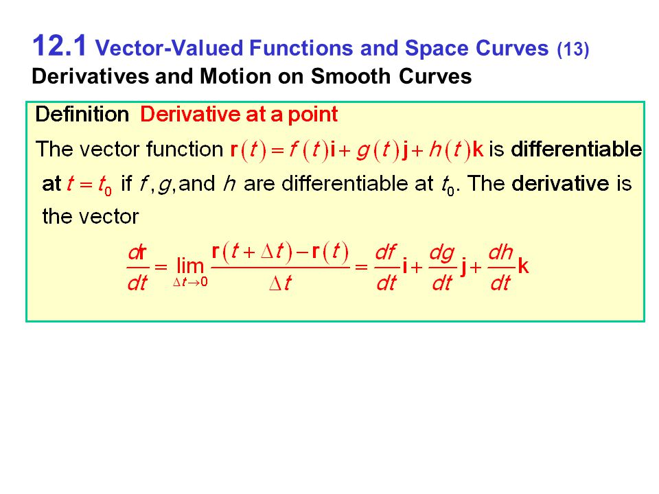 12.1 Vector-Valued Functions and Space Curves (13) Derivatives and Motion on Smooth Curves