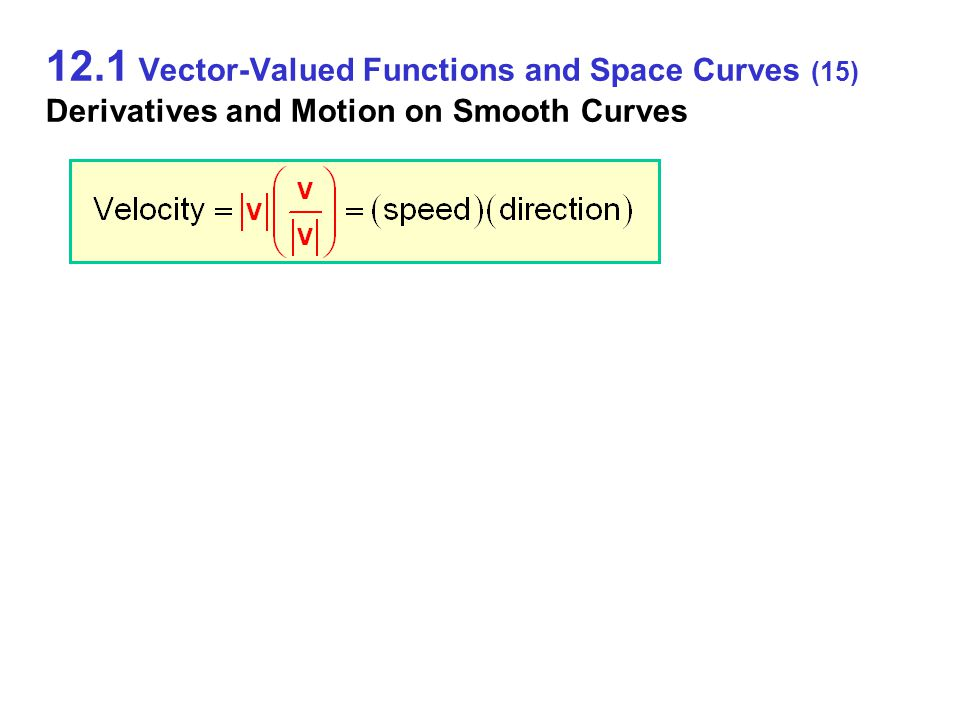 12.1 Vector-Valued Functions and Space Curves (15) Derivatives and Motion on Smooth Curves