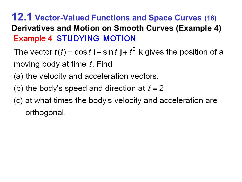 12.1 Vector-Valued Functions and Space Curves (16) Derivatives and Motion on Smooth Curves (Example 4)