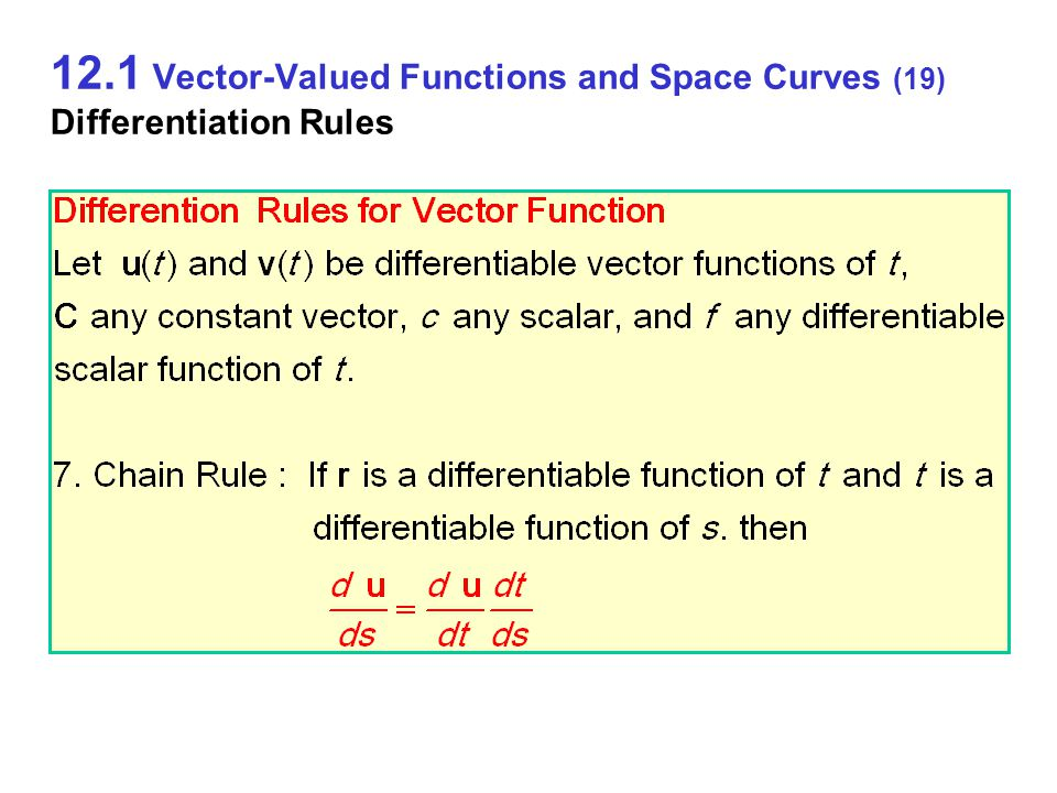 12.1 Vector-Valued Functions and Space Curves (19) Differentiation Rules