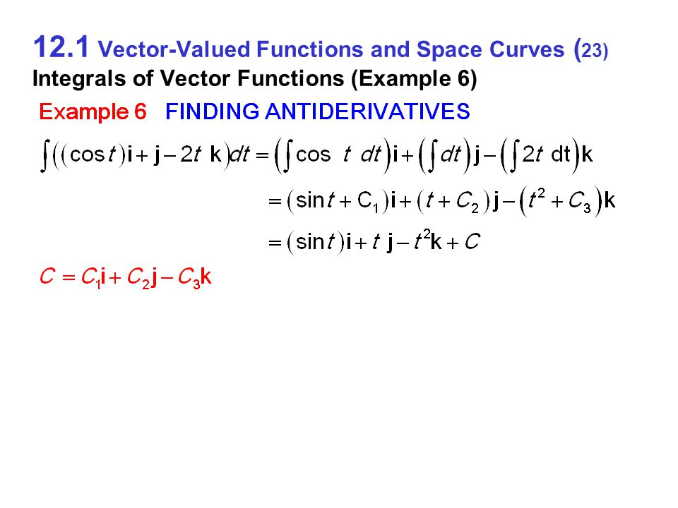 12.1 Vector-Valued Functions and Space Curves ( 23) Integrals of Vector Functions (Example 6)