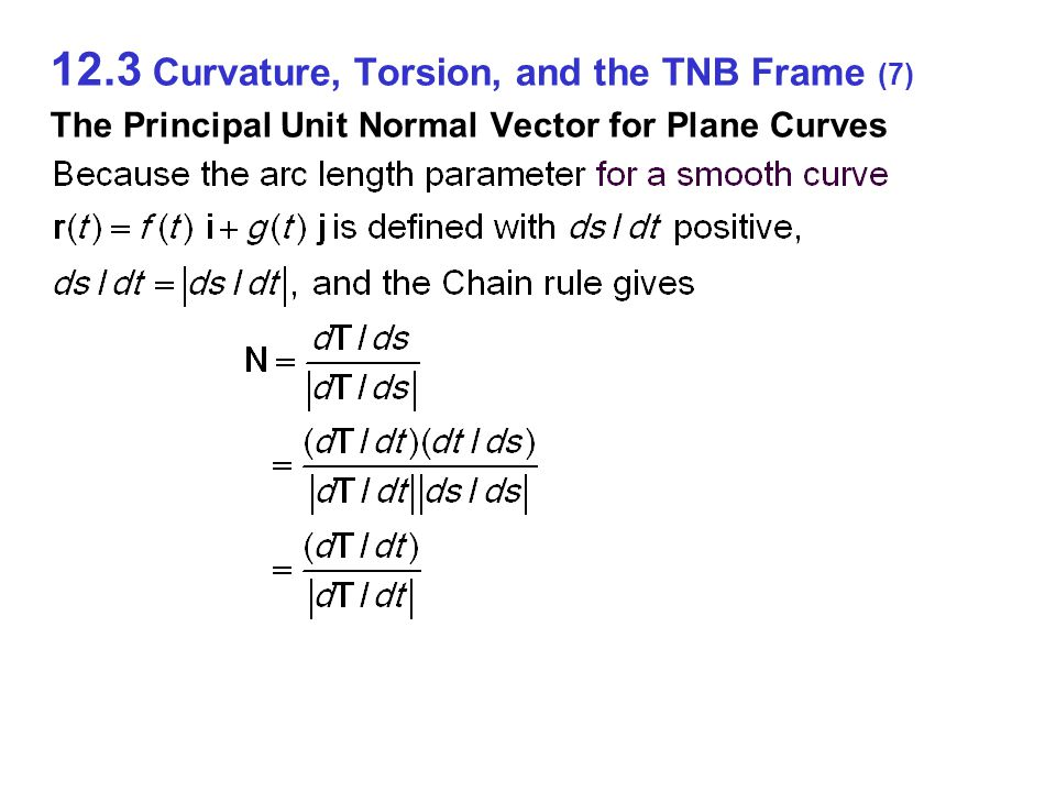 12.3 Curvature, Torsion, and the TNB Frame (7) The Principal Unit Normal Vector for Plane Curves