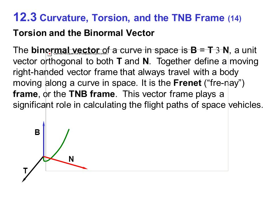 12.3 Curvature, Torsion, and the TNB Frame (14) Torsion and the Binormal Vector T N B The binormal vector of a curve in space is B = T  N, a unit vector orthogonal to both T and N.