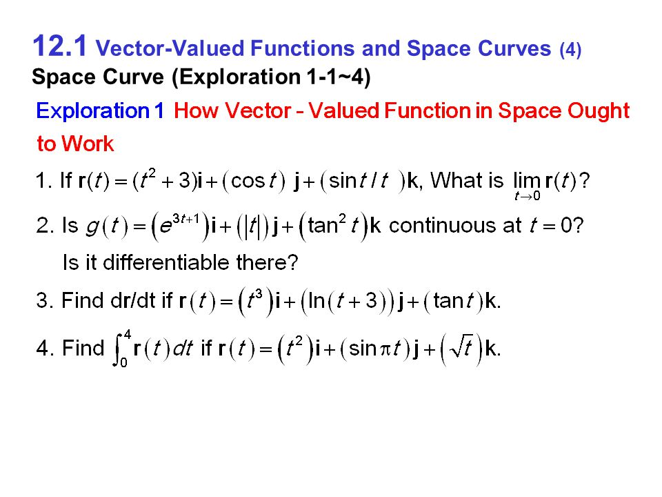 12.1 Vector-Valued Functions and Space Curves (24) Integrals of Vector Functions (Example 7)
