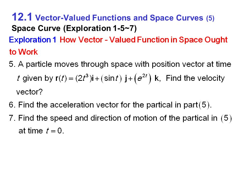 12.1 Vector-Valued Functions and Space Curves (6) Space Curve (Exploration 1-8~10)