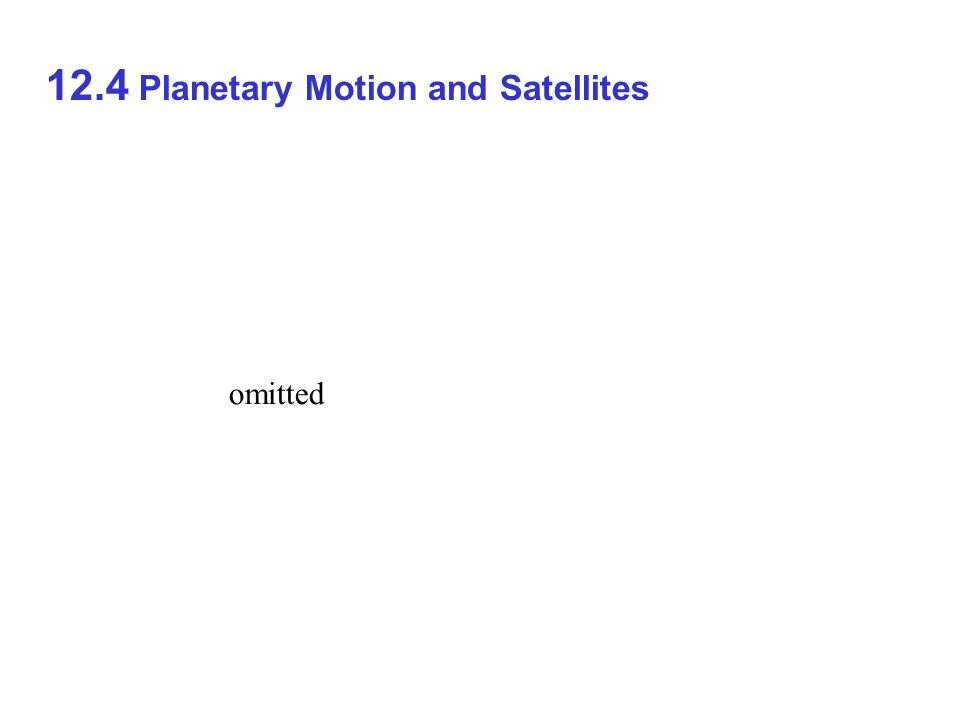 12.4 Planetary Motion and Satellites omitted
