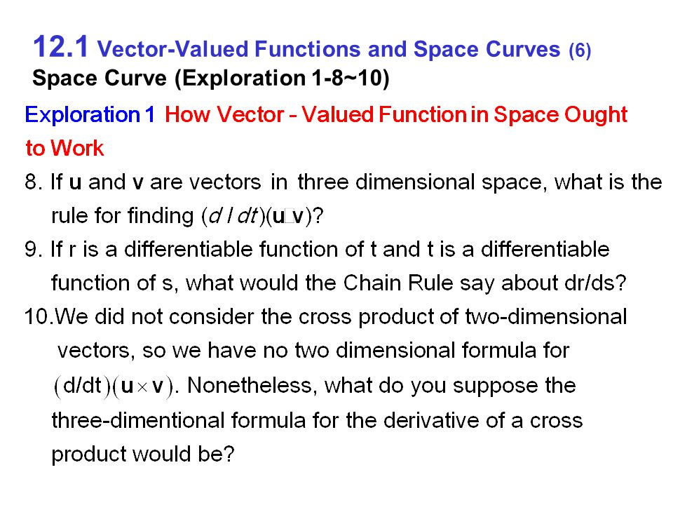 12.1 Vector-Valued Functions and Space Curves (17) Derivatives and Motion on Smooth Curves