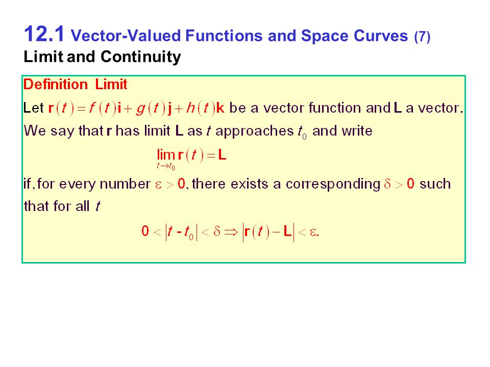 12.1 Vector-Valued Functions and Space Curves (7) Limit and Continuity
