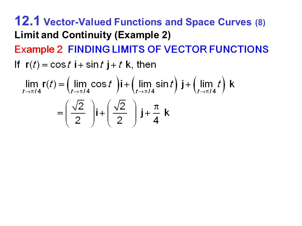 12.1 Vector-Valued Functions and Space Curves (9) Limit and Continuity