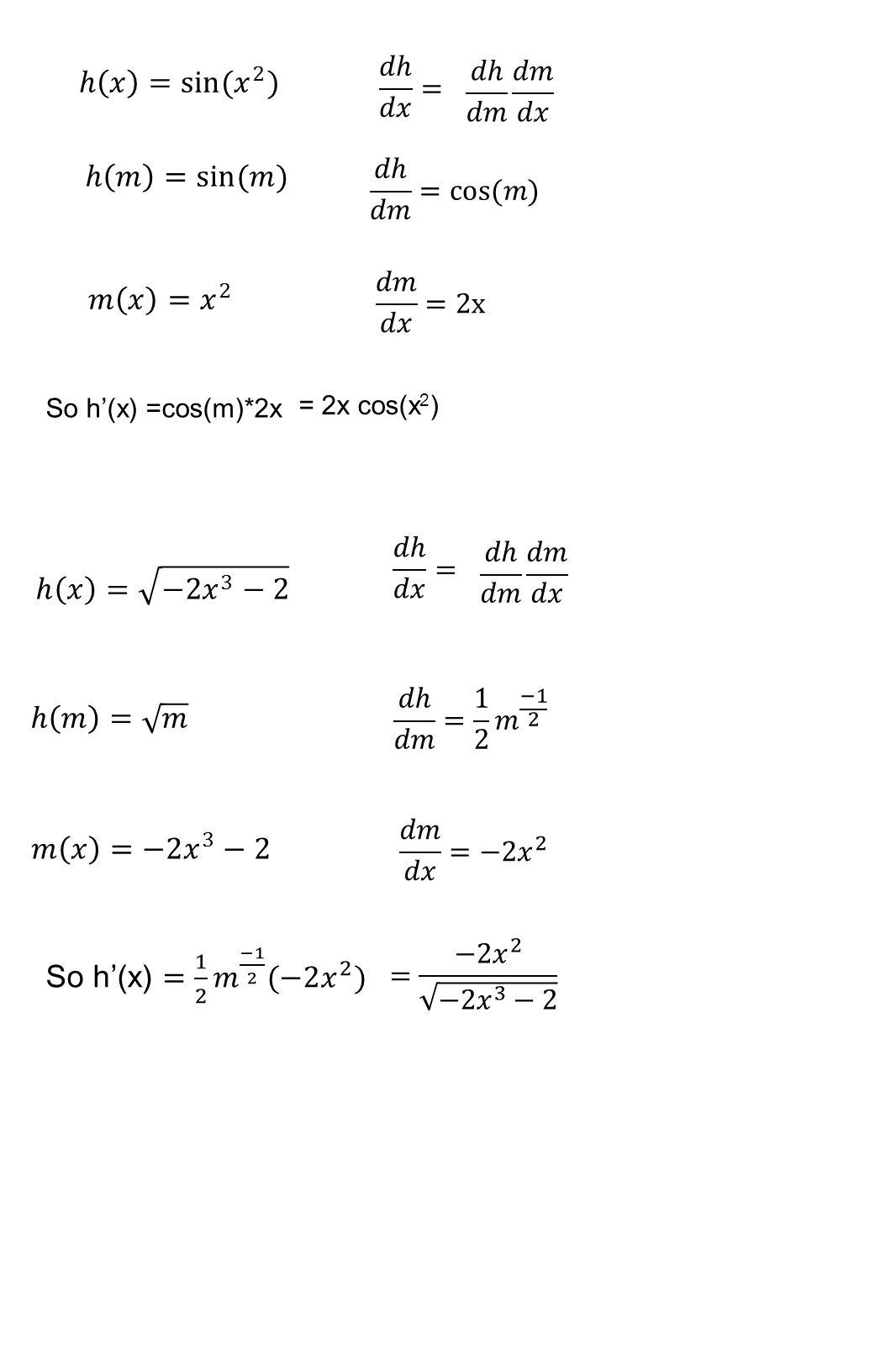 So h'(x) =cos(m)*2x = 2x cos(x 2 )