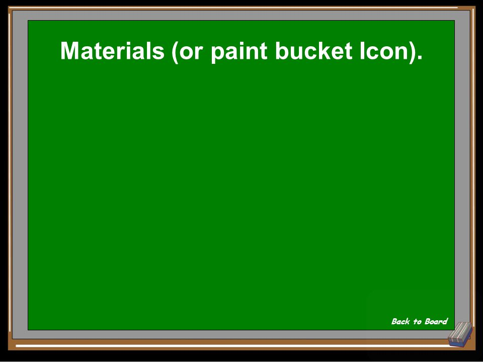 In Sketch Up, Changing Materials and colors is found in the ____ Icon Show Answer