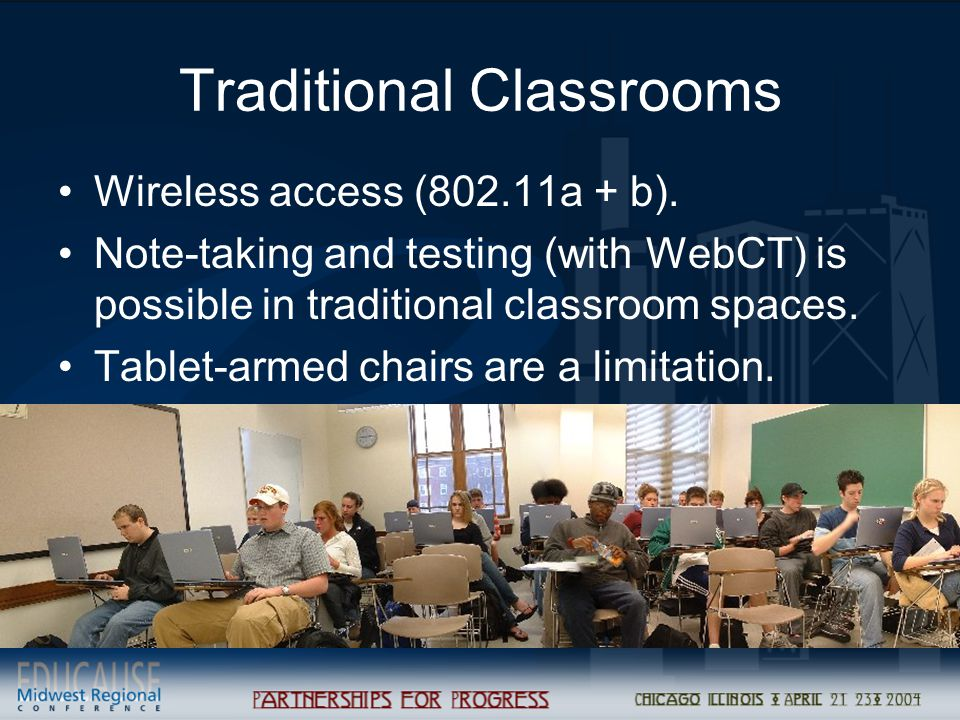 Traditional Classrooms Wireless access (802.11a + b). Note-taking and testing (with WebCT) is possible in traditional classroom spaces. Tablet-armed c