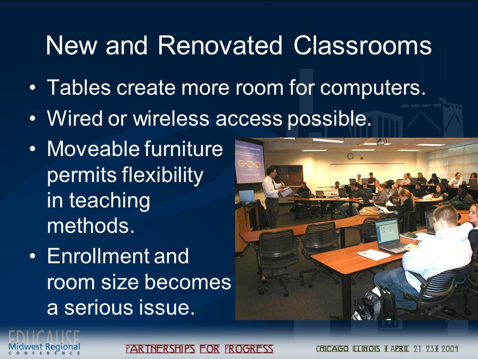 New and Renovated Classrooms Tables create more room for computers. Wired or wireless access possible. Moveable furniture permits flexibility in teach